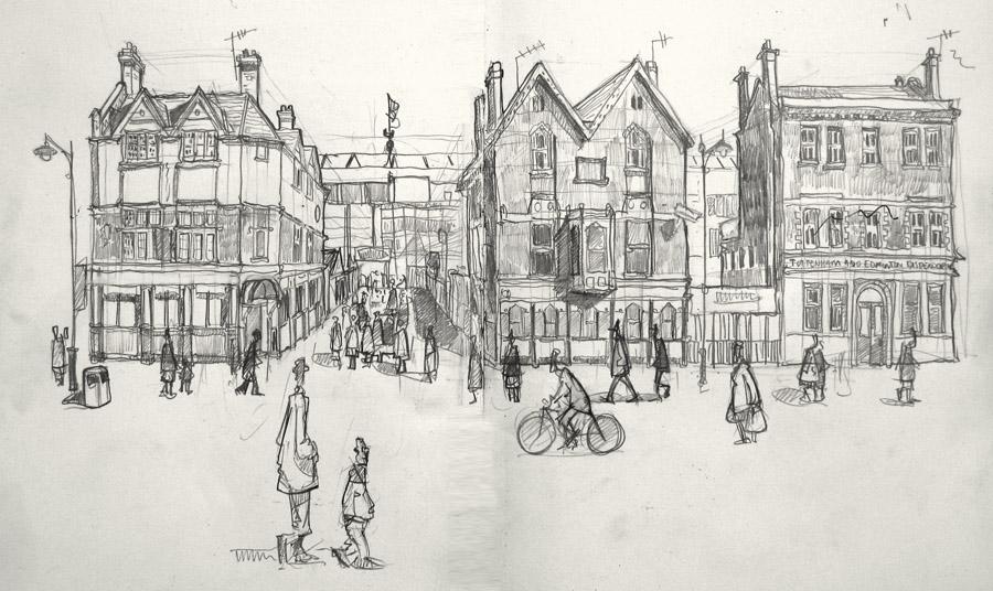 A drawing of Tottenham Hotspur football stadium