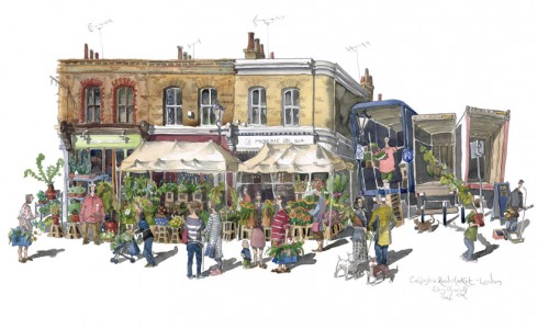 A painting of Columbia Road Market, London