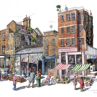 A painting of Bacon Street market, Spitalfileds, London