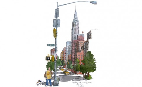A painting of The Chrysler Building, New York