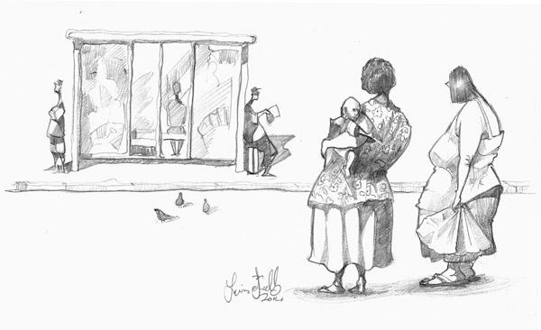 Adrawing of women in Paddington