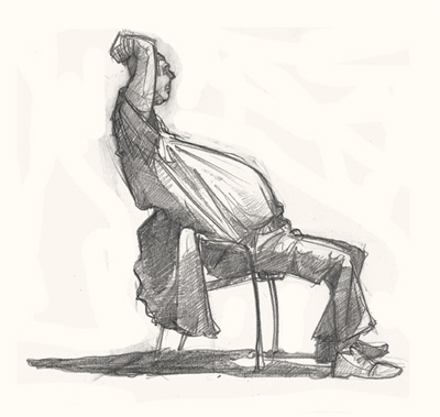 man in chair drawing art
