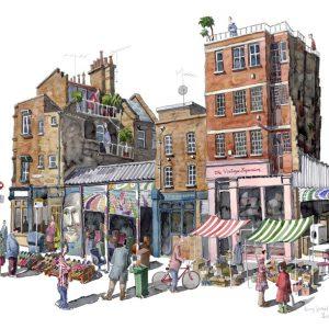Watercolour of Bacon Street Market, London