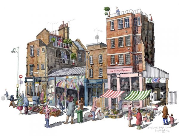 Watercolour of Bacon Street Market, London