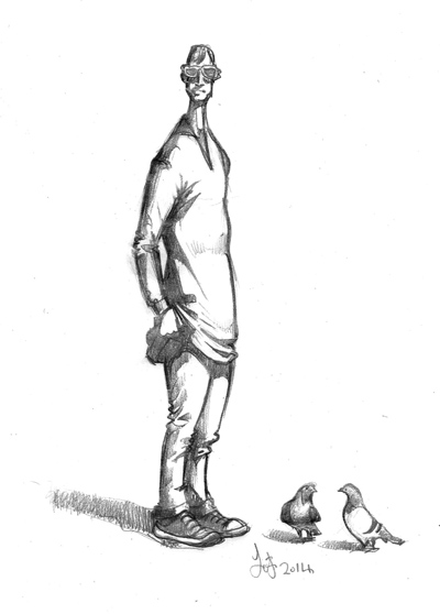 Drawing of a man with pigeons