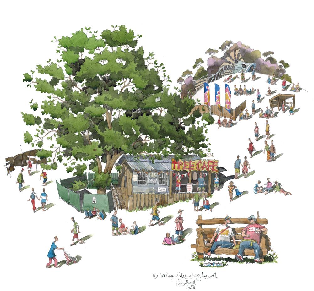 Painting of the tree cafe, Glastonbury