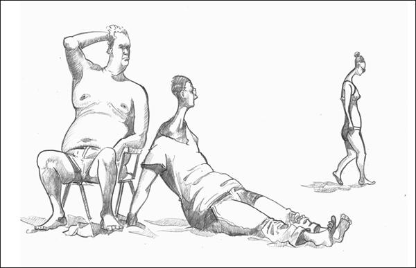 Drawing of sunbathers