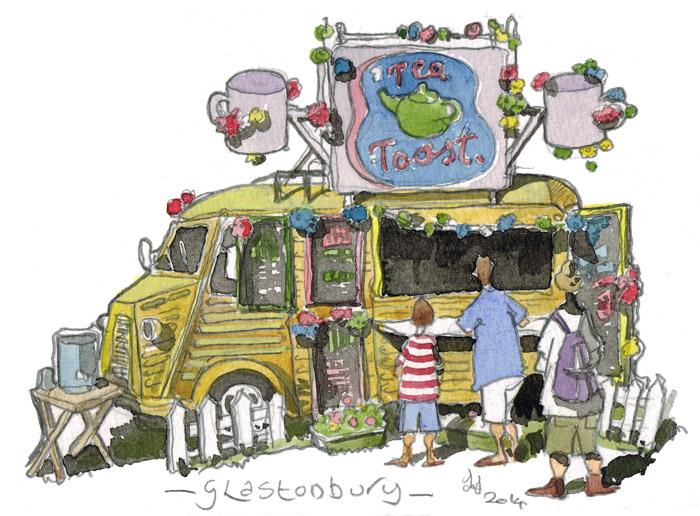 Watercolour of Converted Citroen H Van used as The tea and toast van