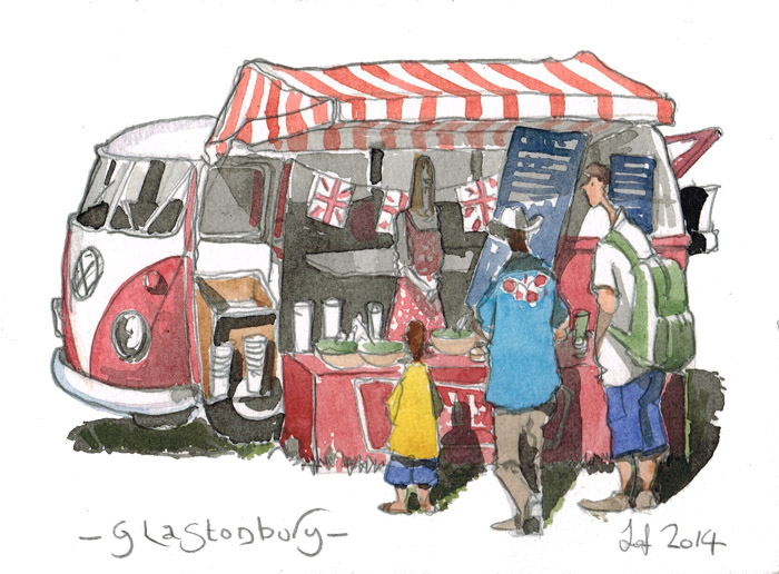 Watercolour of a volkswagen dormobile camper used as  olive bus at the Glastonbury Festival