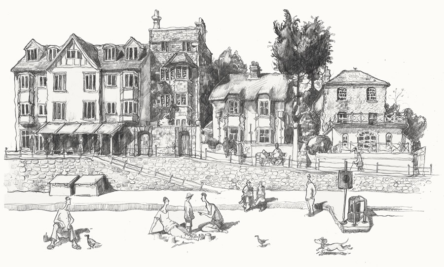 Drawing of Lyme Regis art