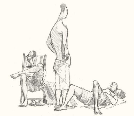 Drawing of Lyme Regis art sunbathers