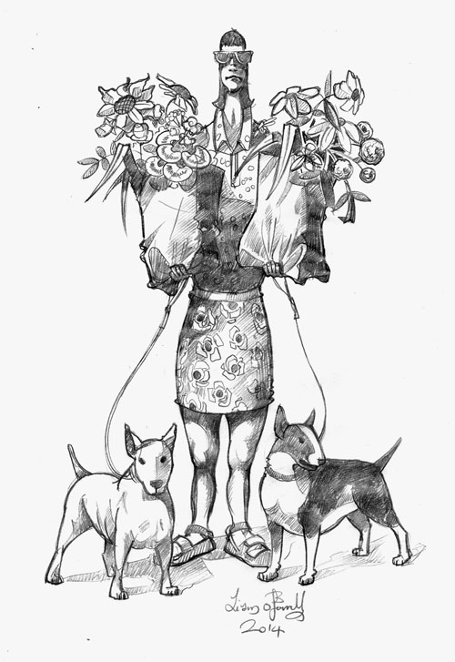 women-with-dogs drawing