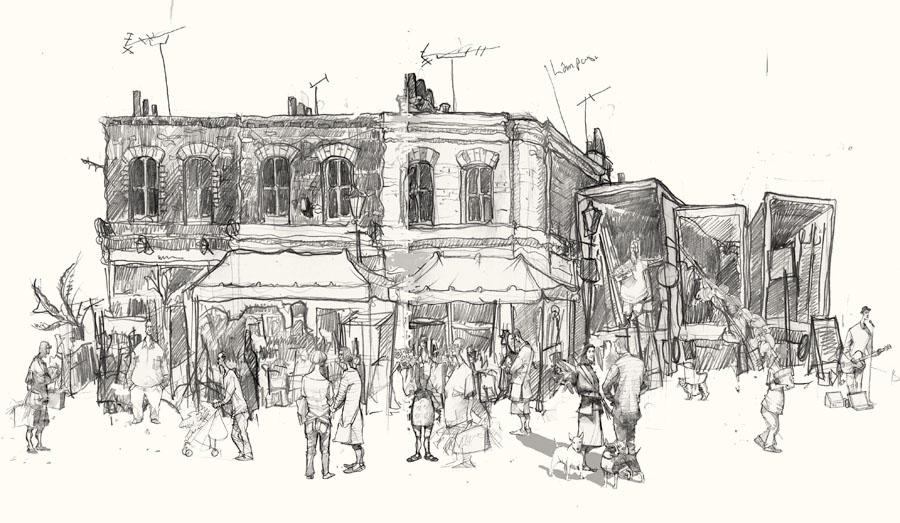 Columbia road drawing art