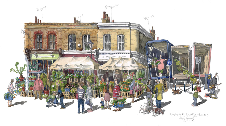 Painting of Columbia Road Market