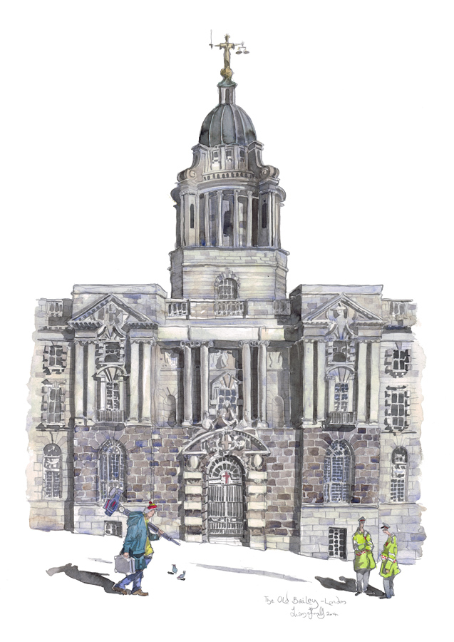 Watercolour painting of The Old Bailey