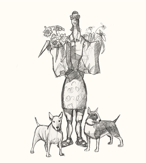 shopper women with dogs drawing