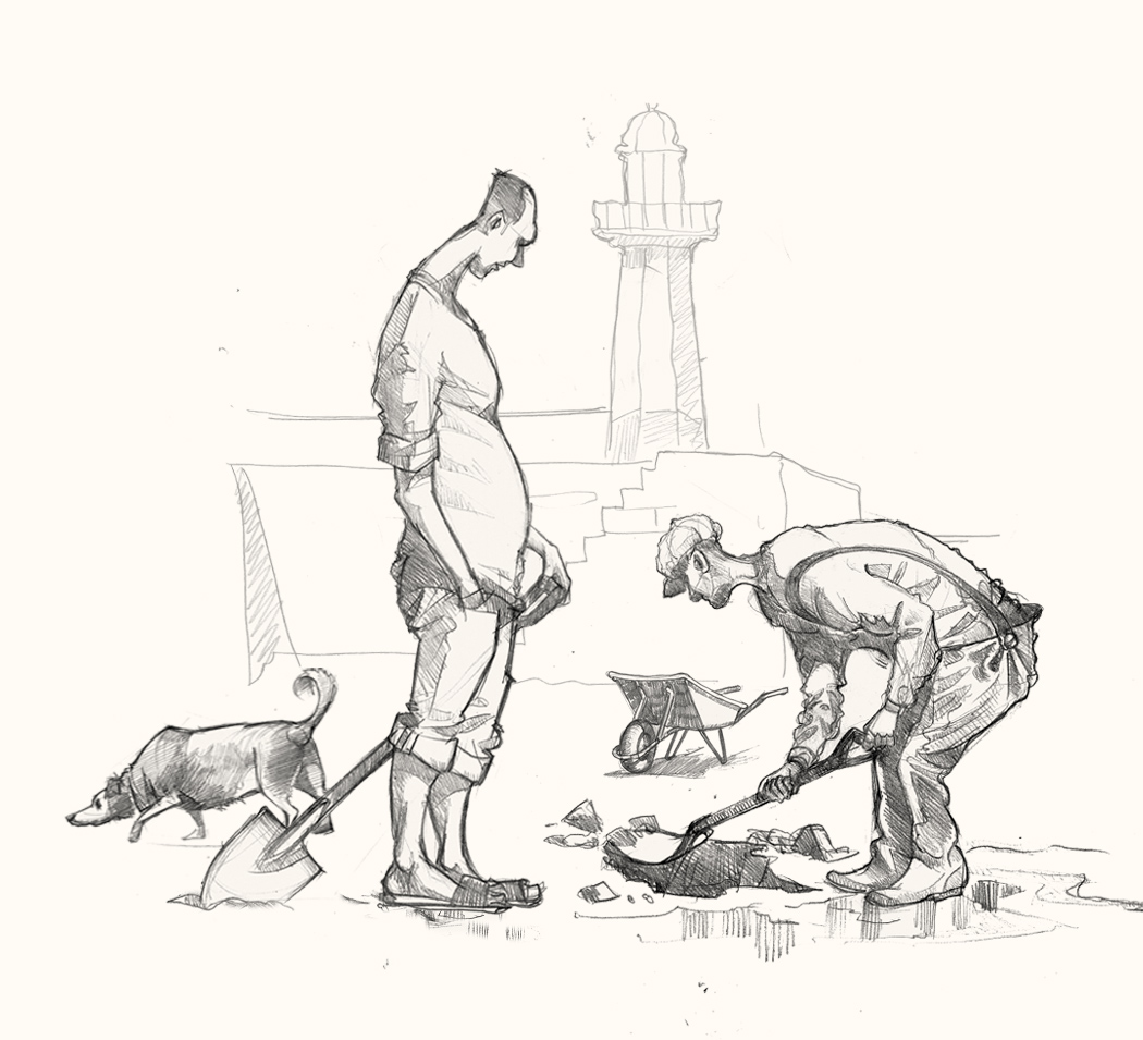 st ives diggers drawing of bait diggers