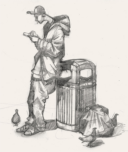 Art Drawing of man texting in Shoreditch