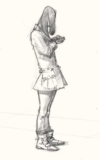 Art Drawing of girl texting in Shoreditch