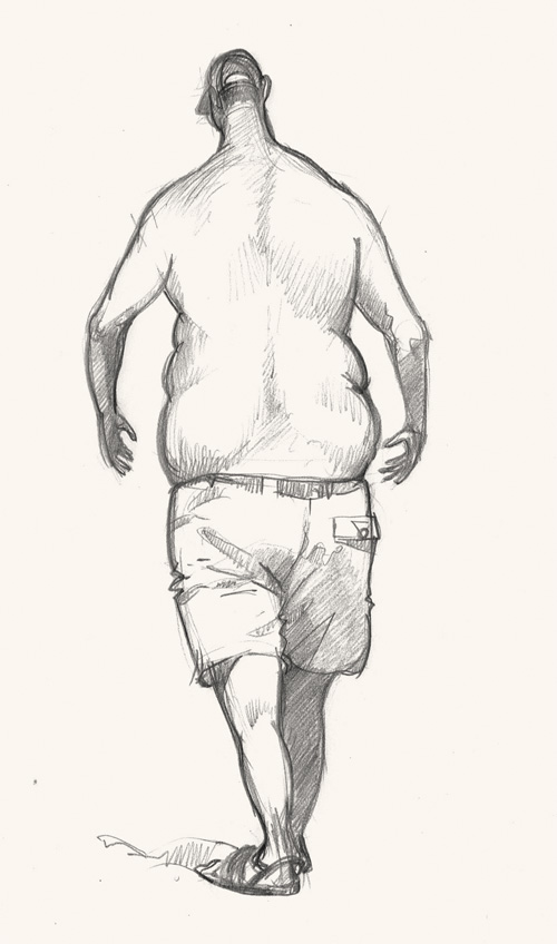 man walking in st Ives drawing