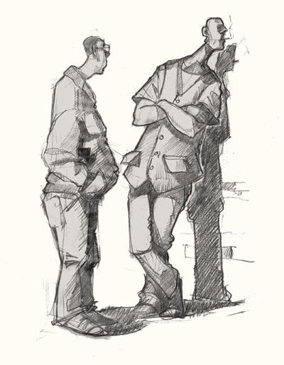 Drawing art of men arguing in Shoreditch
