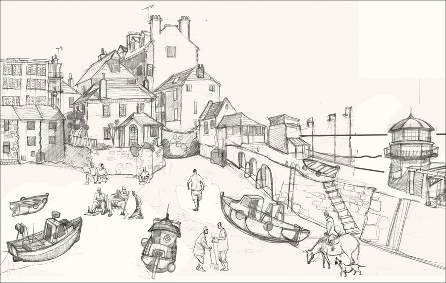 pier drawing in st Ives
