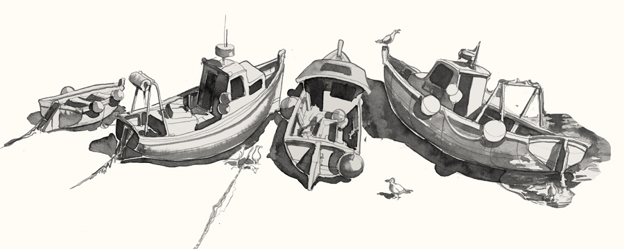 st ives boats drawing