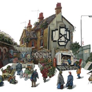 A painting of Sclater Street market, London