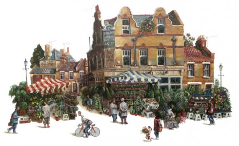 A painting of Columbia Road, London