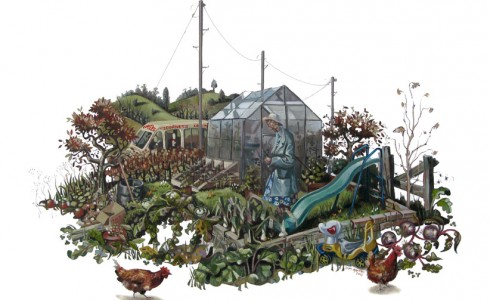 A painting of an old lady in an allotment