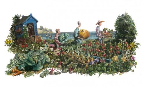 A painting of an allotment fair