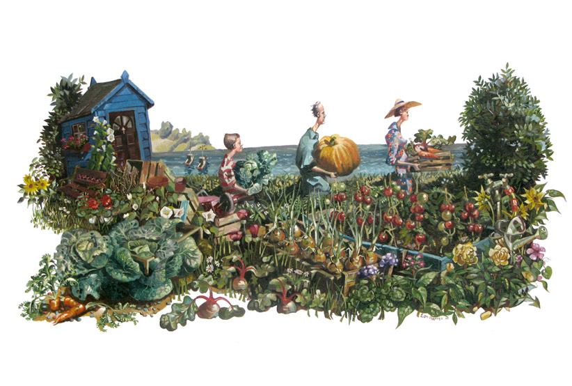 A painting of an allotment fair