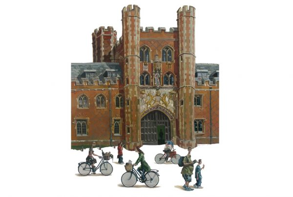 a painting of St john's College, Cambridge
