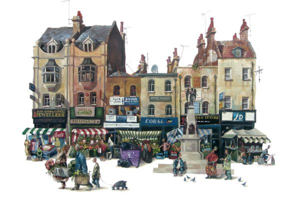 A painting of Whitechapel High Street