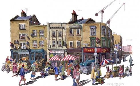 A painting of Brick Lane Market