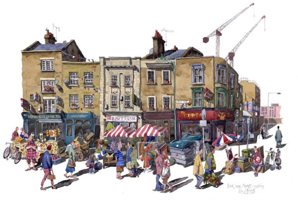 A painting of Brick Lane Market