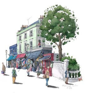 A painting of Portobello Road market