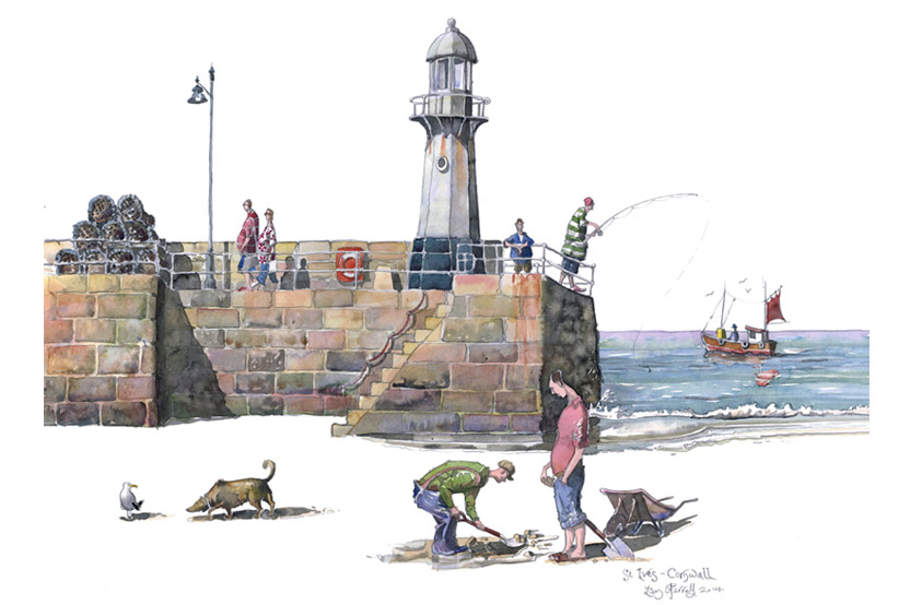 Painting of Bait diggers in St ives
