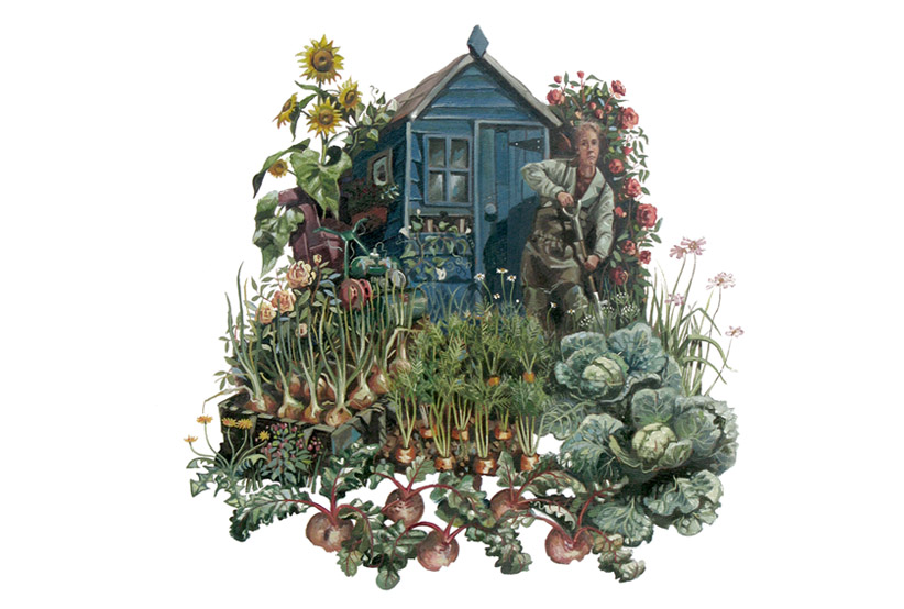 A painting of a digger in an allotment