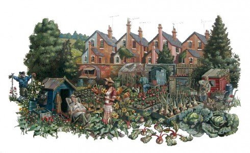 A paintng of a family at an allotment