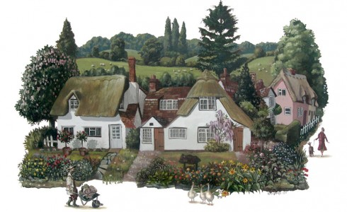 A painting of Finchingfield Essex