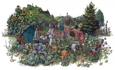 A painting of an allotment