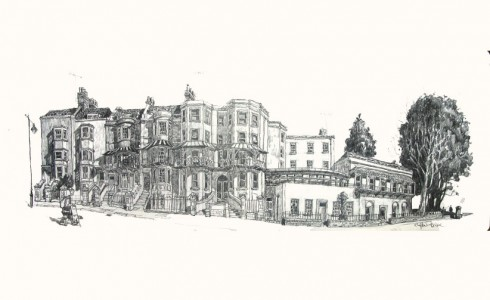 A drawing of Clifton in Bristol