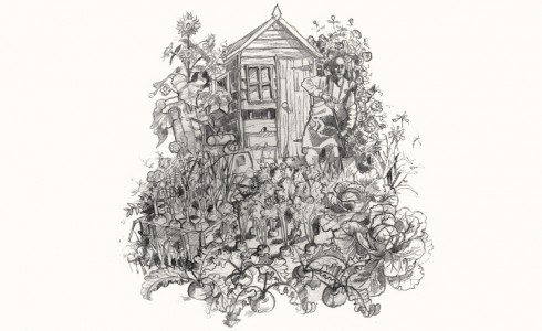 A drawing of Digger in an allotment
