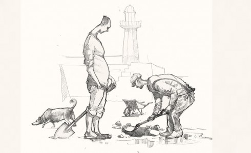A drawing of St Ives Bait diggers