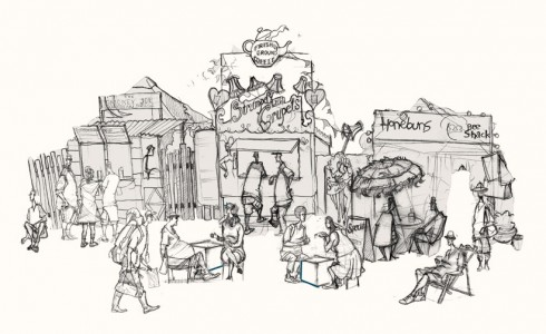 A drawing of the Glastonbury Festival