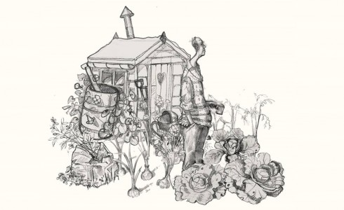 A drawing of a man in an allotment