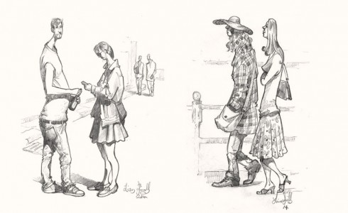A drawing of People in London