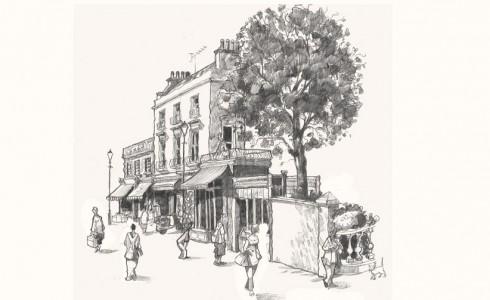 Drawing of Portobello Road market, London