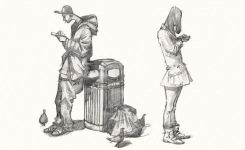 A drawing of Texters in Shoredtich, London